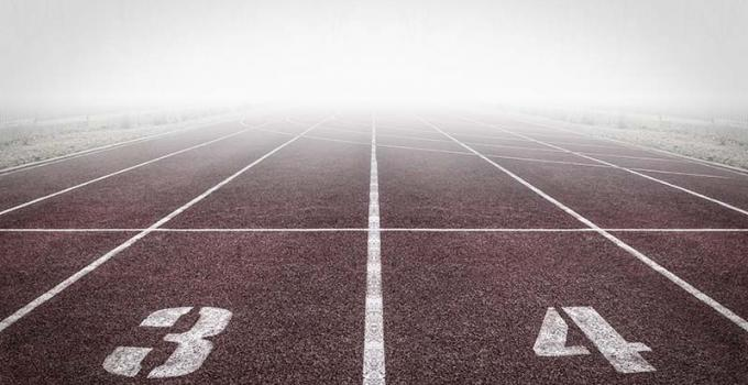 Athletic track in fog