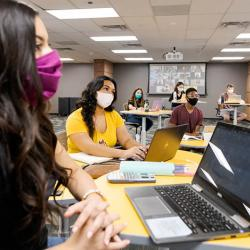 ASU students sitting in class wearing face masks for spring 2021