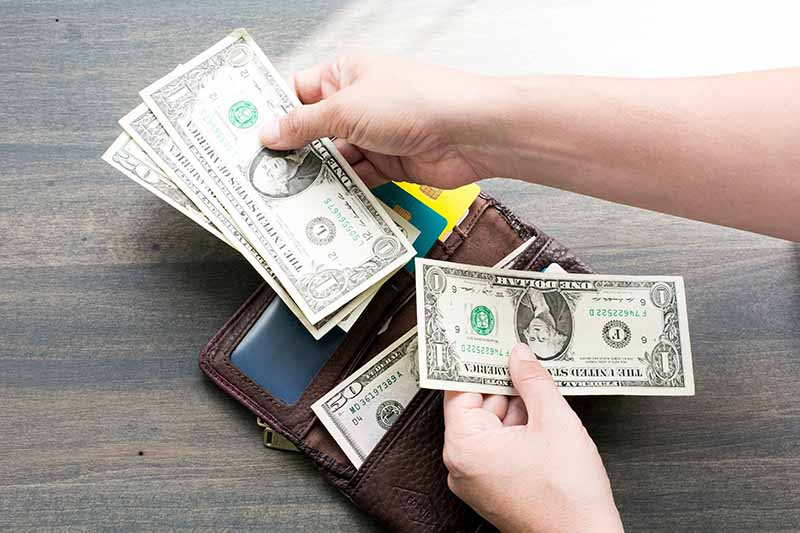 Wallet with a person holding dollar bills over it